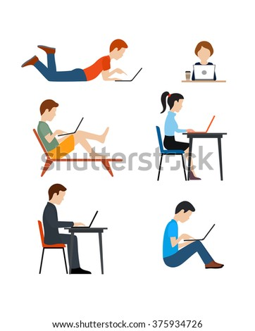 Set of icons flat style. The people working on the computer.