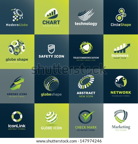 Set of icons for business and technology - stock vector