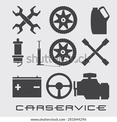 set of icons for car service - stock vector