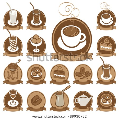 set of icons for coffee shop - stock vector