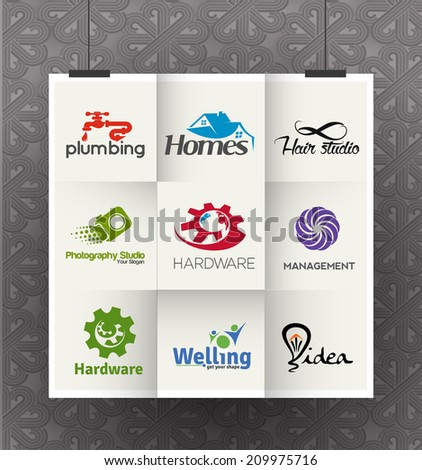 Set of Icons for Corporate Symbol Design Template  - stock vector