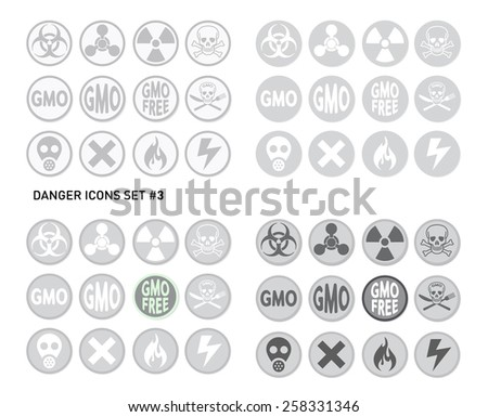 Set of icons for dangerous and hazardous product like radiations, poisons, toxic substances or fire and electricity - stock vector
