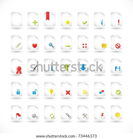 Set of Icons For Different File Types and Actions - stock vector