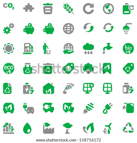 set of icons for ecology and environmental industry - stock vector