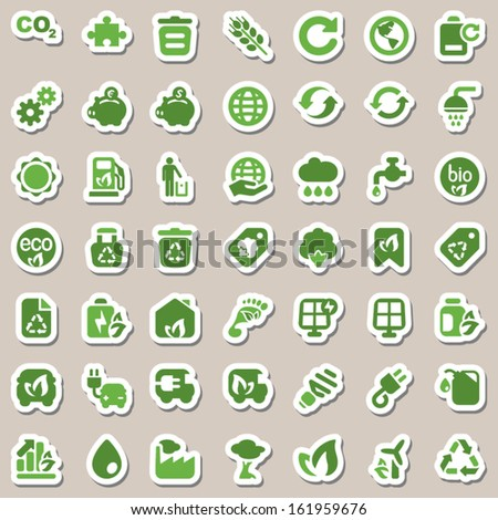 set of icons for ecology and environmental industry, isolated & sticker - stock vector