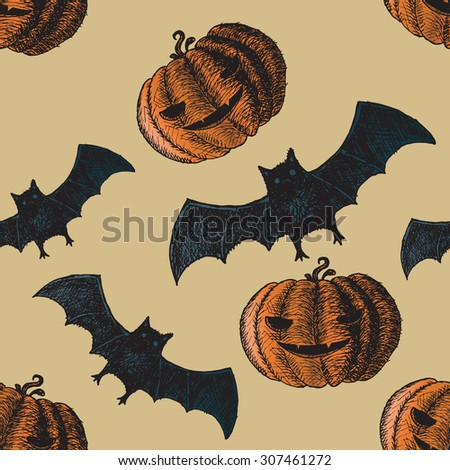 Set of icons for Halloween. Icons hand-drawn. Seamless pattern. - stock vector