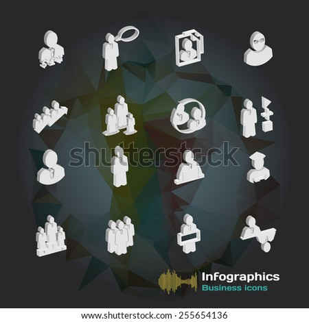 set of icons for infographic on the topic of business team - stock vector
