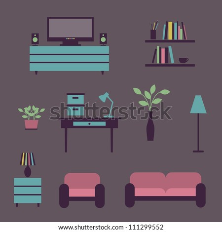Set of icons for living room. Vector illustration. - stock vector