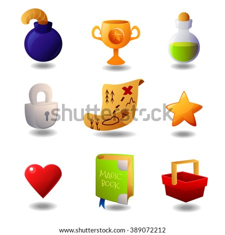 Set of icons for mobile game or app vector illustration. Beautiful glossy cartoon icons - stock vector