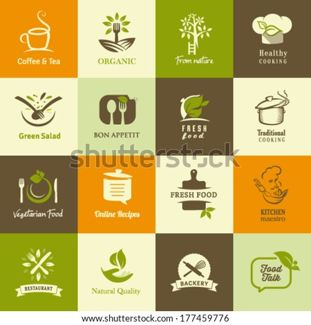Set of icons for organic and vegetarian food, cooking and restaurants - stock vector
