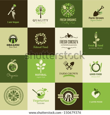 Set of icons for organic food and restaurants - stock vector