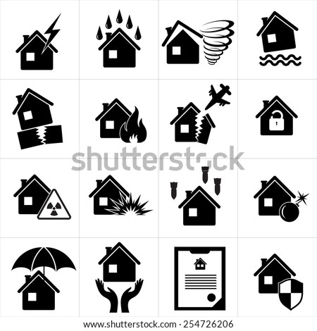 Set of icons for property insurance - stock vector