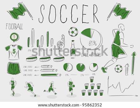 Set of icons for soccer (football) inforgraphic