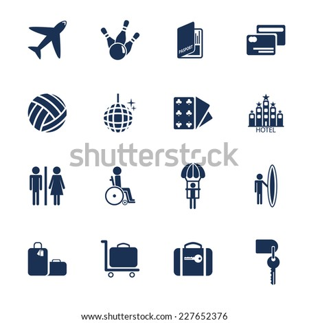 Set of icons for transportation, traveling and leisure in flat style - stock vector