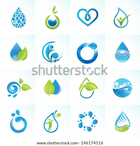Set of icons for water and nature   - stock vector