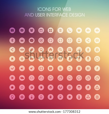 Set of icons for web and user interface design - stock vector