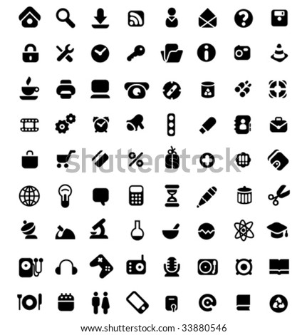 Set of 72 icons for website, computer, business, shopping, science, education and music. Vector illustration. - stock vector