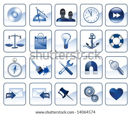 Set of icons for website in blue color, vector illustration - stock vector