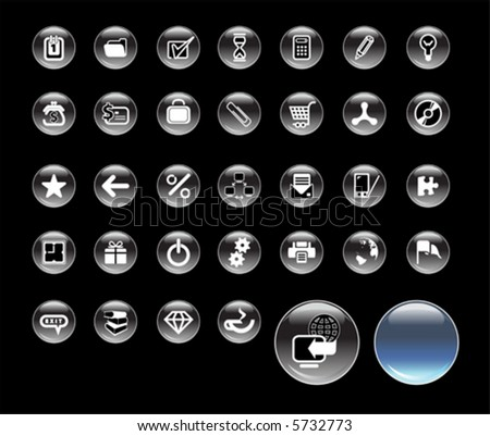 Set of icons for website, round glass icons for network - stock vector
