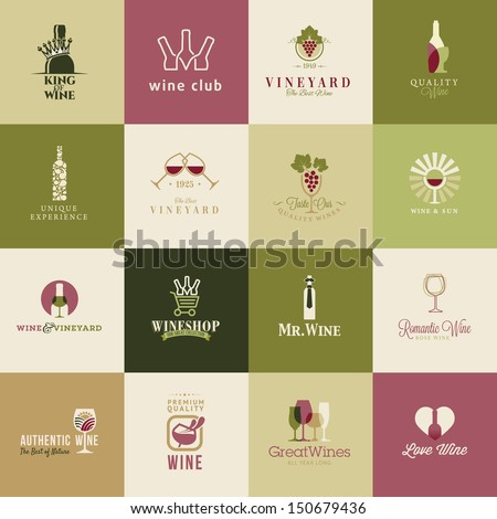 Set of icons for wine, wineries, restaurants  and wine shops - stock vector
