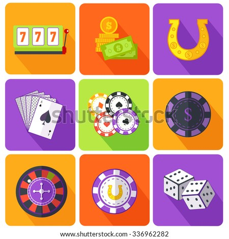 Set of icons gambling games flat style. Casino and slot machine, poker game, dice and roulette, las vegas, vegas and playing cards, win and play, gamble leisure, fortune and risk illustration - stock vector