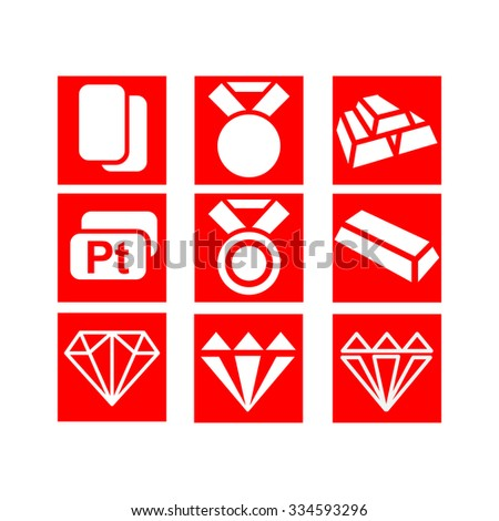 Set of icons. Gold. Platinum. Medal. Brilliant. - stock vector