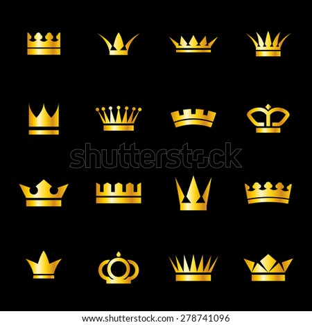 Set of icons  golden crowns isolated on   black background - stock vector