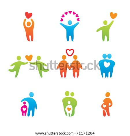 set of icons - happy people - stock vector