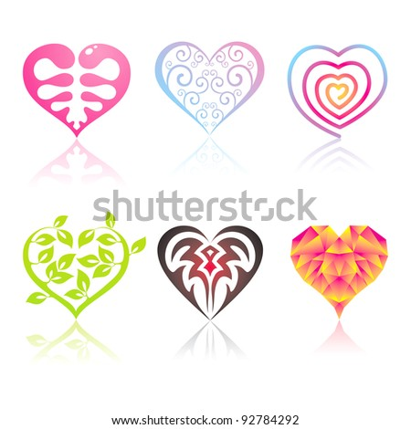 Set of icons hearts - stock vector