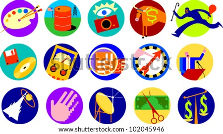 Set of icons illustrating various objects or concepts