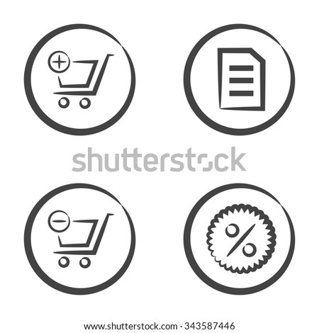 Set of 4 icons in circle isolated on white background: shopping cart with plus symbol, text file, shopping cart with minus symbol and percentage symbol. - stock vector