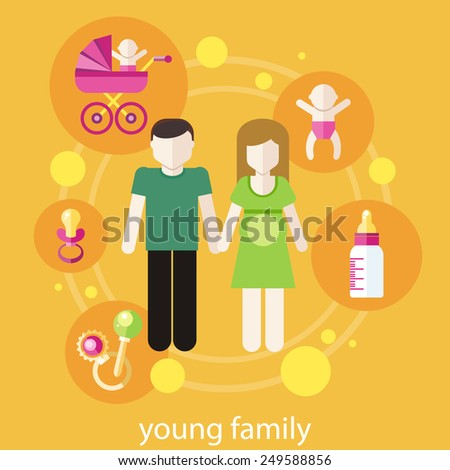 Set of icons in flat design around lovely young family - stock vector