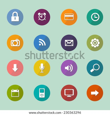 Set of icons in flat design. Vector illustration