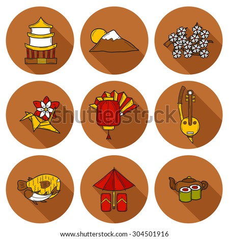 Set of icons in hand drawn cartoon style on Japan theme: geisha, sword, sushi, sakura, lantern, origami. Travel japanese consept for your design - stock vector