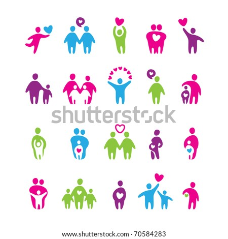 set of icons - love and family - stock vector