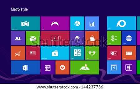 Set of 25 icons. Metro style background - stock vector