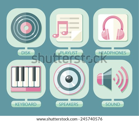 Set of icons music for app. Media player music icons, signs, silhouettes set - stock vector