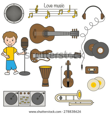 Set of icons, musical instruments, vector illustration, guitar, disk, headphone, trombone, djembe, violin, microphone, gramophone record, music note - stock vector
