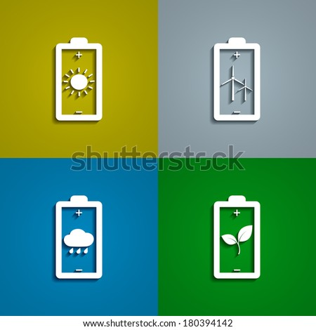 set of icons of batteries charged with energy from alternative sources, vector eps 10 illustration - stock vector