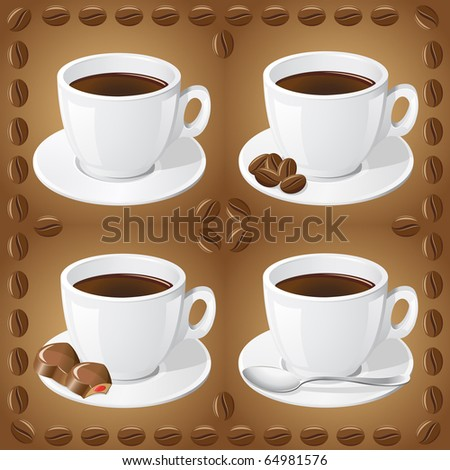 set of icons of cups with coffee vector illustration - stock vector