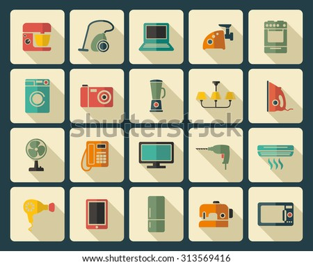 Set of icons of different home appliances - stock vector