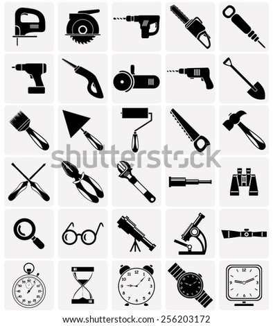 Set of icons of different tools and devices. - stock vector