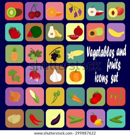 Set of icons of different vegetables and fruits. Vector illustration.
