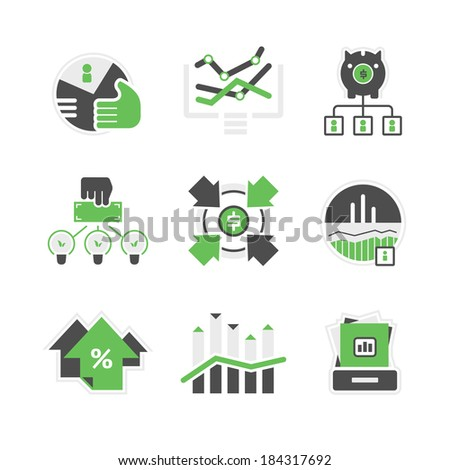 Set of icons of financial market and investment.