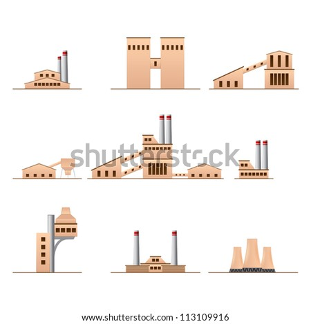 set of icons of Industrial buildings - stock vector