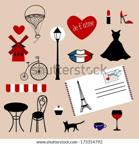 set of icons of Paris - stock vector