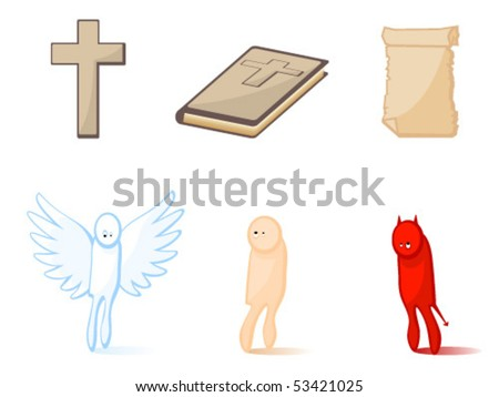 Set of icons of religious subjects. Christianity. Attributes. - stock vector