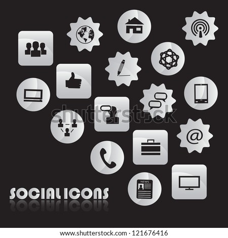 Set of Icons of social network isolated on black background - Vector illustration - stock vector