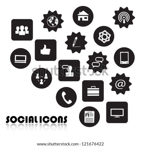 Set of Icons of social network isolated on white background - Vector illustration - stock vector