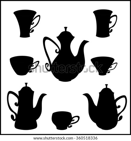 Set of icons of teapots, coffee pots and cups. Vector isolated black tableware for tea and coffee. - stock vector